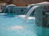 Aqua Dream swimming pool gallery closeup of waterfall