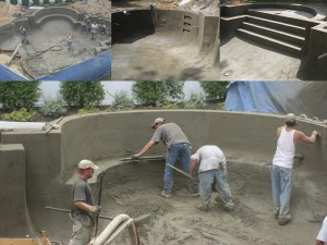 swimming pool construction: Gunite Trimming