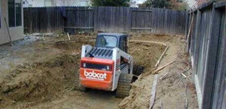 Beginning swimming pool construction